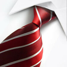 UK0014 White Red Striped New Silk Classic JACQUARD Woven Men's Tie Necktie