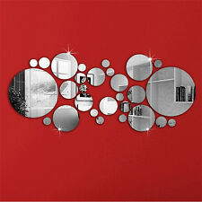 30PC Silver Circles Mirror Decal Vinyl Art Wall Sticker Home Decor Diy Removable