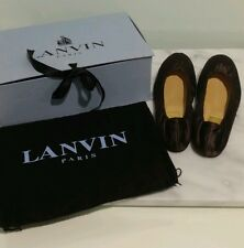 LANVIN NIB Brown Satin Leather Ballet Flat 37.5 w/ Box Dustbag RARE