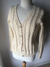 Arran Cardigan Hand Knit Wool Cable Cream M 12-14