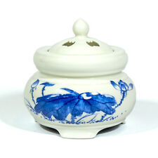 Electric Incense Burner / Heater- Blue Lotus drawing - Taiwan Ceramic