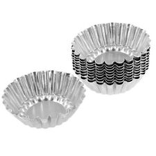 10 Pcs Silver Tone Aluminum  Cupcake Cookie Pudding Egg Tart Mold Mould Makers