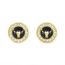 Bull Earrings 10mm Gold Tone with Black Medallion Shaped