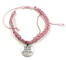 """Pink """"Never Never Give Up"""" Teen Adjustable Bracelet New w/ Gift Bag"""