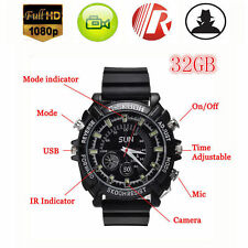 32GB Waterproof Spy HD Video Wrist Watch Camera 1080P Hidden DV DVR Camcorder