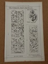 Antique Architects Print Amiens Cathedral Panels with Foliage Building News 1879