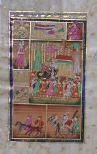 Mughal King & Queen Procession Scene On Elephant Painting Artwork Vintage Indian