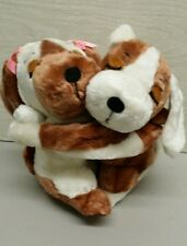 Puppy Love hugging plush stuffed dogs NWT brown and white Dakin Valentine's Day