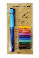 Vivapen Fountain Pen with Ink Cartridges 10 Colors Free Registered Shipping