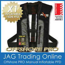 "AXIS OFFSHORE ""PRO"" BLACK MANUAL INFLATABLE PFD1 LIFEJACKET 150N Life Jacket"