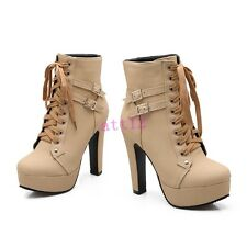 New Women High Heel Block Platform Ankle Boots Buckle PU Leather Lace Up Shoes