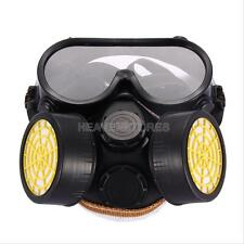 Industrial Gas Chemical Anti-Dust Paint Respirator Mask w/ Glasses Goggles Set