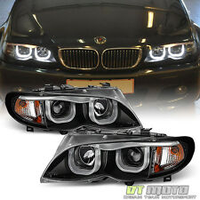 Black 2002-2005 BMW E46 Sedan 3-Series LED [3D Style] Halo Projector Headlights