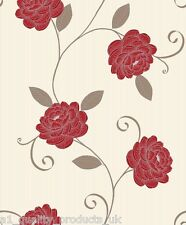 Debona - Wallpaper, Beige w/ Red Flower, Floral Design, Leaf, BNIB Puccini 5565