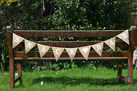Hessian Fabric Bunting Banner Rustic Snack Bar Burlap Shabby Chic Wedding Party
