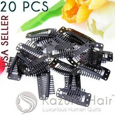 Black 10-teeth Large Silicone Snap Hair Clips Wigs Extensions - QUICK SHIPPING!