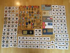 Medals, Tokens, and Coin Lot: Military Medals, U.S. & World Coins, few silver