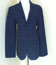 Wallace & Barnes for J. Crew Plaid Blazer Jacket Sz 40R Sample Navy and Gold