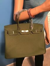 ARMY GREEN BIRKIN INSPIRED 35CM LEATHER HANDBAG