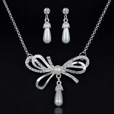 Silver Plated Bowknot Pearl Rhinestone Necklace Earrings Bridal Wedding Set