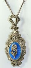 VINTAGE ANTIQUE FRENCH STERLING SILVER ENAMEL MARCASITE NECKLACE
