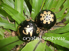 Feng Shui - 38mm Black Obsidian Crystal Ball Mantra & Dharma Wheel