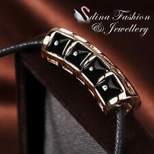 Black Cord Chain With 18K Rose Gold Plated Personality Fashion Necklace