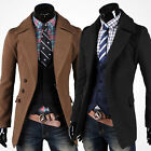 fashion Mens Slim Fit Wool Trench Coat Windbreaker Formal Pea Coat Jacket PARKA
