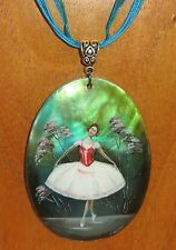 Russian hand painted BALLET SHELL pendant Ballerina on stage UNIQUE signed GIFT