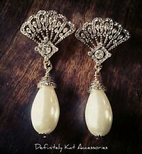 Stunning crystal filligree fan & pearl large tear drop chandelier stud earrings