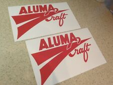 "AlumaCraft Vintage Fishing Boat Decals 12"" RED FREE SHIP + FREE Fish Decal!"