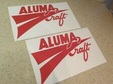 """AlumaCraft Vintage Fishing Boat Decals 12"""" RED FREE SHIP + FREE Fish Decal!"""