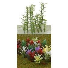 100 Model Bamboo Tree 4 Scale & 100 Mixed Flowering Plants Train Railway Scenery