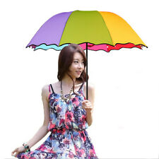 Colors Women Rainbow Sun/Rain Umbrella Parasol Bridal Wedding Party Beautiful N