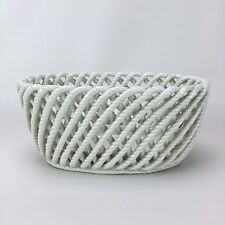 Basket Weave Porcelain Kitchen Fruit Bowl Bread Spain White Oval