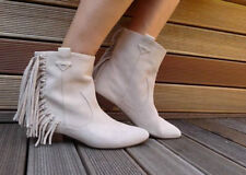 ZARA Beige Flat Leather Suede Cowboy Ankle Boots with Fringes 38 5 BNWT 2154 101