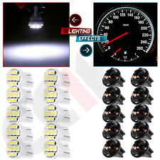 10Pcs T10 White 8-SMD LED Instrument Cluster Light Bulb + PC194 Socket For Ford
