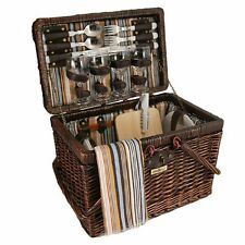 Picnic & Beyond Willow Picnic Basket for 4, New, Free Shipping