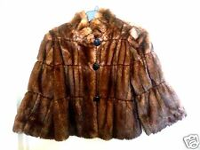 NEW ! INC PP FAUX MINK FUR WHISKEY BROWN SHORT COAT SWING JACKET BOLERO VEGAN