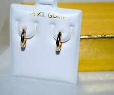 14k Solid Yellow Gold Plain Huggie Earrings 2mm X 11mm