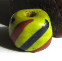 RARE AMAZING OLD LIME GREEN STRIPED VENETIAN TRADE BEAD 10mm x 13mm