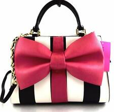 Betsey Johnson NWT $118 CURTSY SATCHEL Pink Black White Bow CROSSBODY BAG $118