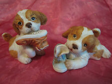 Homco pair of bisque porcelain puppies playing with shoes dogs animals figurines
