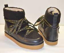 New $150 House of Harlow 1960 Nicole Richie SADIE Black Laced Shearling Boots 6