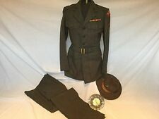 WWII USMC UNIFORM TUNIC PANTS DRILL AND CAMPAIGN HAT