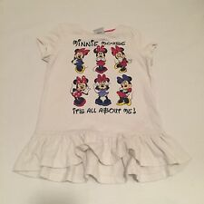 DISNEY white Minnie Mouse glitter tshirt top Baby girls clothes 18-24 Months