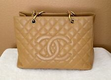 Authentic CHANEL Beige Quilted Caviar Grand Shopper Tote Handbag #10368023