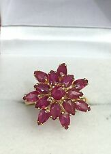 14k Solid Yellow Gold Cluster Flower Ring Natural Ruby 3TCW, Sz 7.25