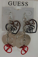 NWT Guess Gold Metal-Red Enamel-Red Rhinestones Dangling Earrings