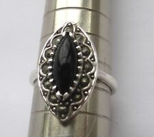 Solid Sterling 925 Silver Marcasite Black Onyx Ring Size N 1/2. Vintage Style